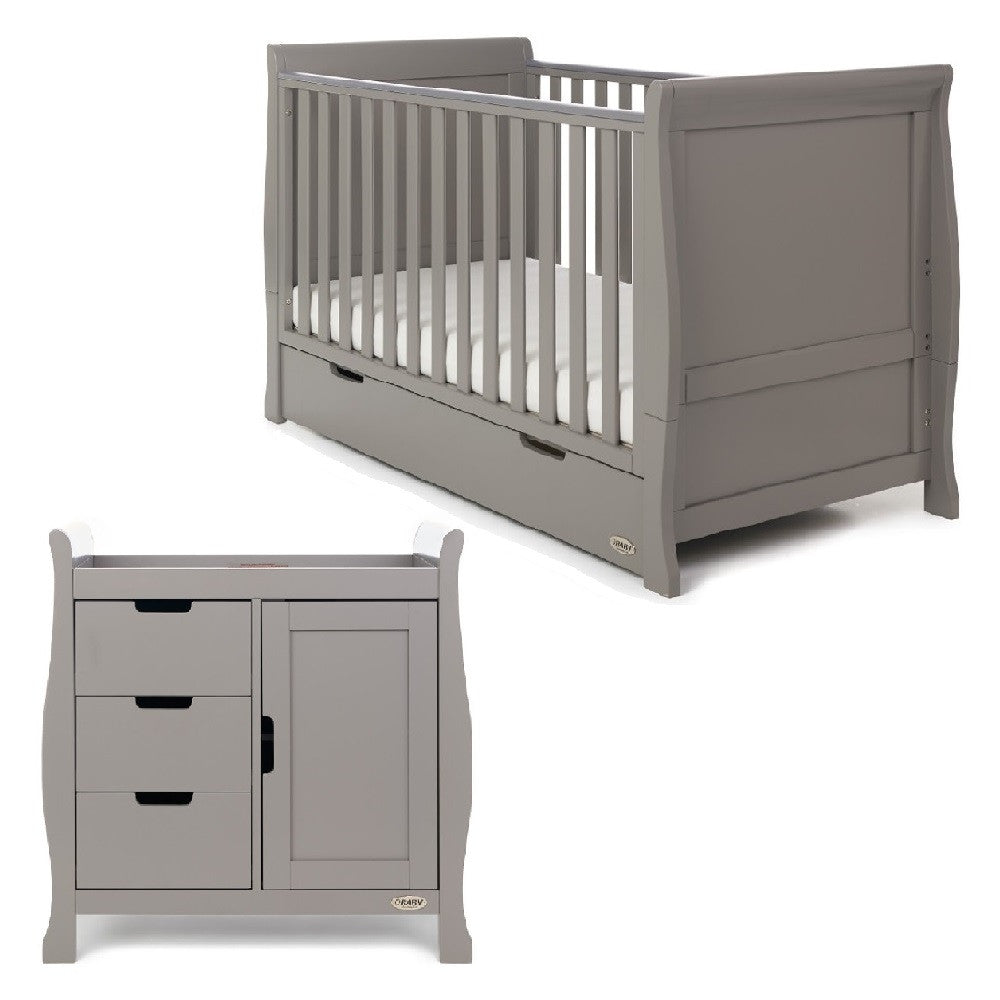 Obaby Stamford Sleigh 2 Piece Room Set (Taupe Grey)