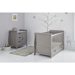 Obaby Stamford Sleigh 2 Piece Room Set (Taupe Grey) - lifestyle image, shown with cot
