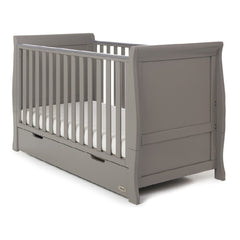 Obaby Stamford Sleigh Cot Bed (Taupe Grey) - quarter view, shown as the cot with a mattress (mattress NOT included, available separately)