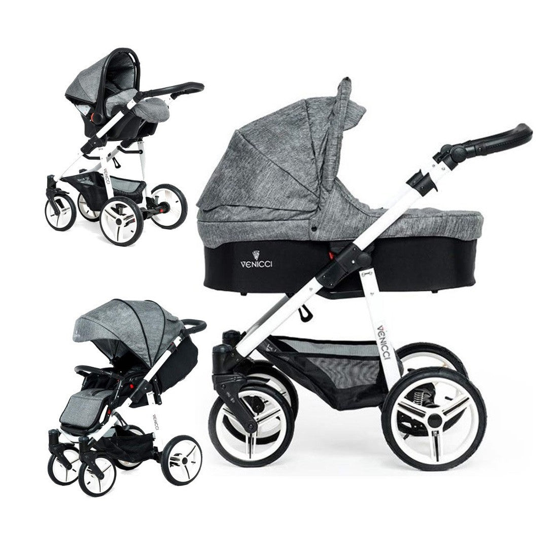 Venicci Soft Edition White 3-in-1 Travel System (Denim Grey)