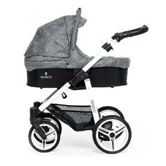 Venicci Soft Edition White 3-in-1 Travel System (Denim Grey) - side view, shown as pram