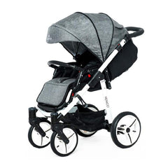 Venicci Soft Edition White 3-in-1 Travel System (Denim Grey) - quarter view, shown as pushchair