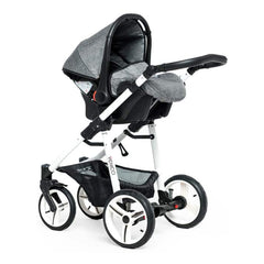 Venicci Soft Edition White 3-in-1 Travel System (Denim Grey) - shown with car seat mounted on chassis