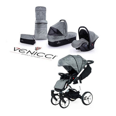 Venicci Soft Edition White 3-in-1 Travel System (Denim Grey) - showing some of the included accessories