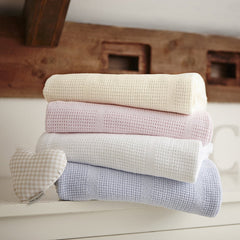 Clair de Lune Cellular Pram Blanket - lifestyle image, showing other colours