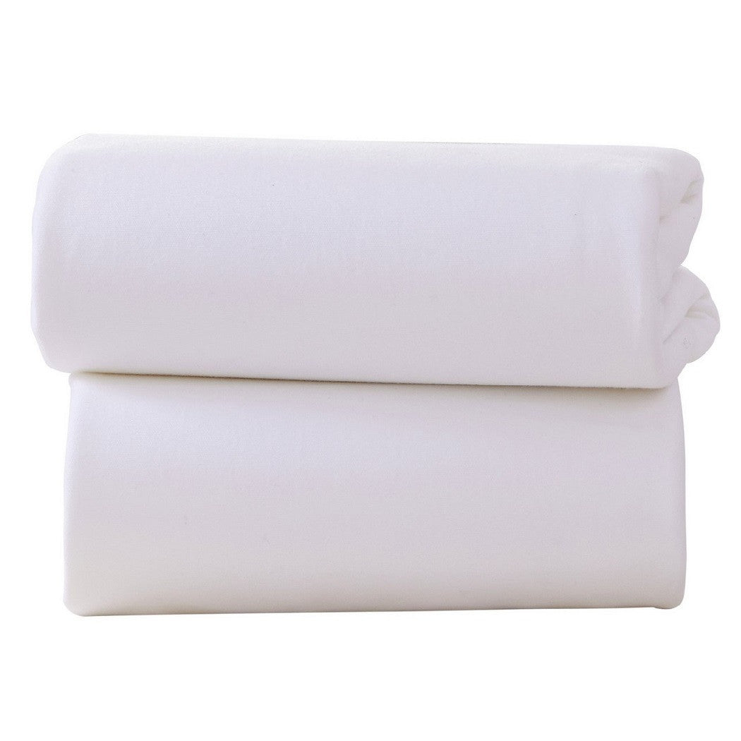 Clair De Lune Fitted Sheets for Moses Baskets - Pack of 2 (White)