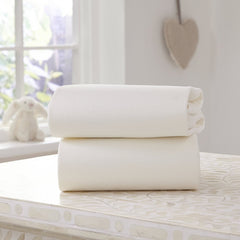 Clair De Lune Fitted Sheets for Moses Baskets - Pack of 2 (White) - lifestyle image