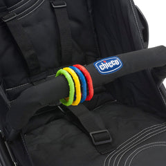 Chicco Stroller Kit - showing the colourful hooks fitted onto a bumper bar