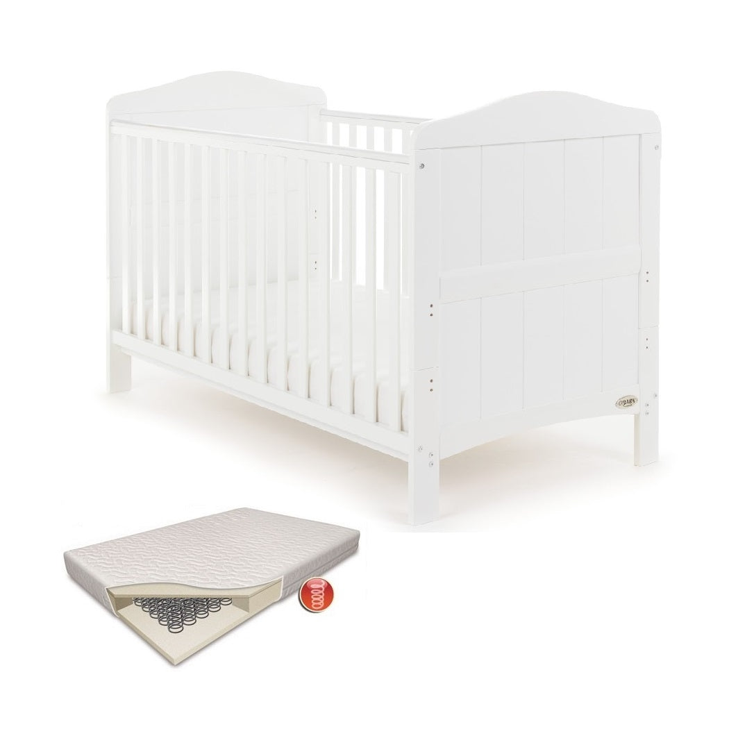 Obaby Whitby Cot Bed & Sprung Mattress (White)