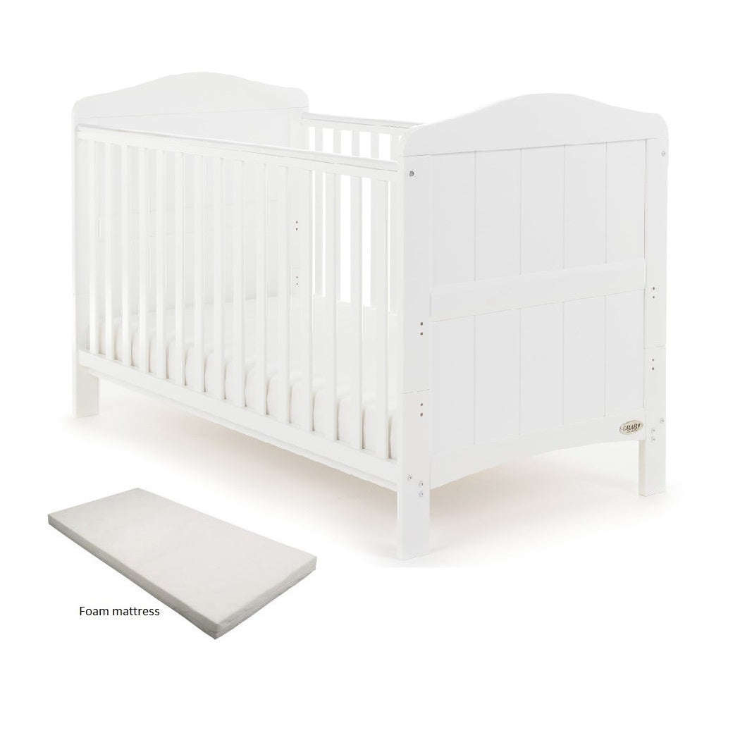 Obaby Whitby Cot Bed & UK Made Foam Mattress (White)