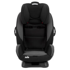Joie Every Stage Group 0+/1/2/3 Car Seat (Two Tone Black) - front view, stage three shown with insert and harness removed and headrest raised