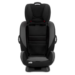 Joie Every Stage Group 0+/1/2/3 Car Seat (Two Tone Black) - front view, stage four shown with insert and harness removed and headrest raised to full height