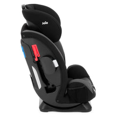 Joie Every Stage Group 0+/1/2/3 Car Seat (Two Tone Black) - side view, shown upright with headrest raised