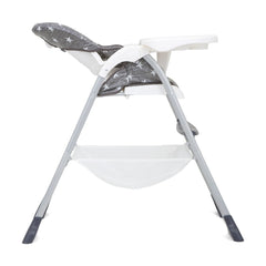 Joie Mimzy Snacker Highchair (Twinkle Linen) - side view, shown reclined