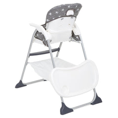 Joie Mimzy Snacker Highchair (Twinkle Linen) - rear view, showing the tray being stored