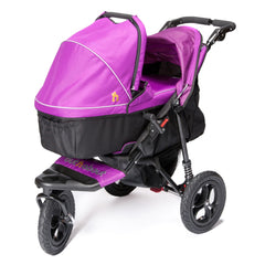Out n About Nipper 360 v4 Pushchair & Carrycot (Purple Punch) - showing the carrycot fitted onto the pushchair