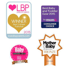 Out n About Nipper 360 v4 Pushchair & Carrycot (Purple Punch) - showing some of its accredited awards
