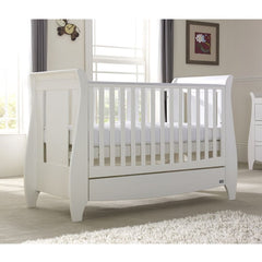 Tutti Bambini Lucas Cot Bed (White) - lifestyle image, shown here as the cot