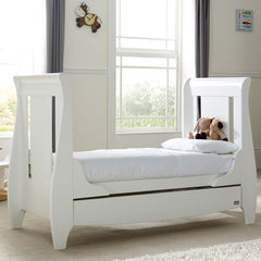 Tutti Bambini Lucas Cot Bed (White) - lifestyle image, shown here as the junior bed