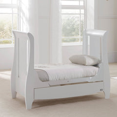 Tutti Bambini Katie Space Saver Sleigh Cot Bed (White) - lifestyle image, showing the junior bed