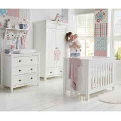 BabyStyle Marbella Dresser and Baby Changer (White) - lifestyle image (cot bed and wardrobe NOT included, available separately)