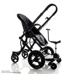 Bumprider Stroller Board (Black) - Sit or Stand - quarter view, shown attached to a pushchair with the seat attachment (pushchair NOT included)