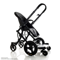 Bumprider Stroller Board (Black) - Sit or Stand - quarter view, shown attached to a pushchair without the seat attachment (pushchair NOT included)