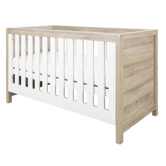 Tutti Bambini Modena Cot Bed (Oak with White) - quarter view