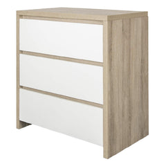 Tutti Bambini Modena Chest Changer (Oak with White) - quarter view, shown without the changing top