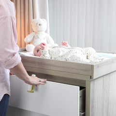 Tutti Bambini Modena Chest Changer (Oak with White) - lifestyle image