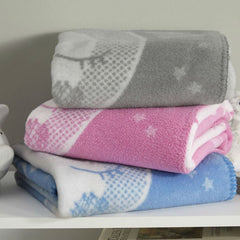 Clair de Lune Over The Moon Fleece Blanket - showing the available colours