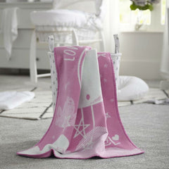 Clair de Lune Over The Moon Fleece Blanket (Pink) - lifestyle image