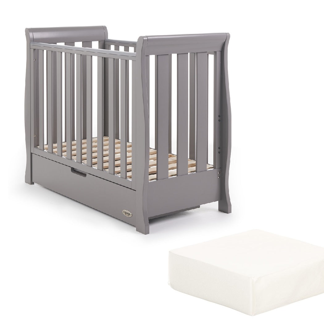 Obaby Stamford Space Saver Cot With FOAM Mattress (Taupe Grey)
