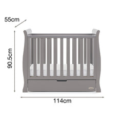 Obaby Stamford Space Saver Cot (Taupe Grey) - side view, shown with dimensions