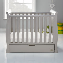 Obaby Stamford Space Saver Cot With FOAM Mattress (Taupe Grey) - lifestyle image