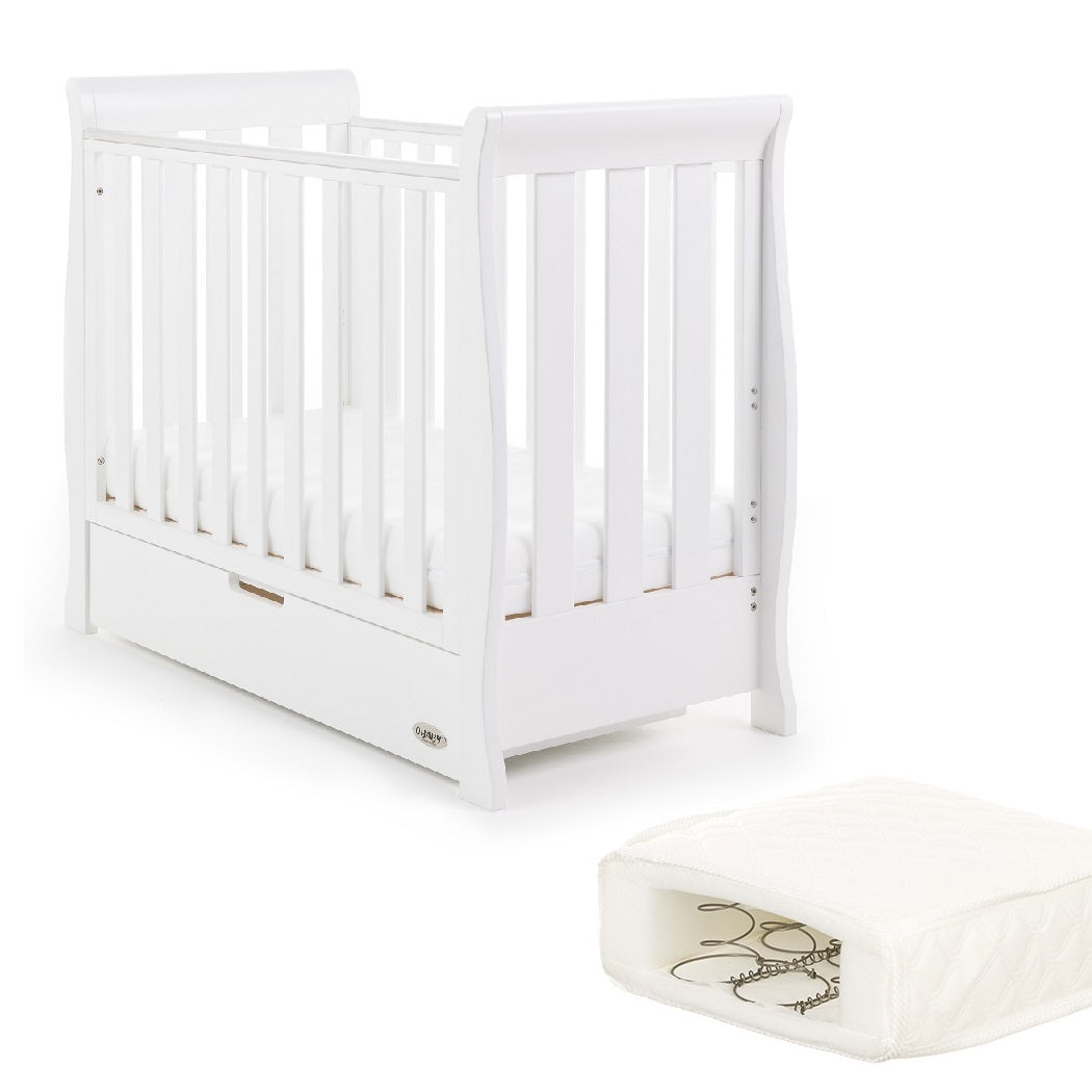 Obaby Stamford Space Saver Cot With SPRUNG Mattress (White)