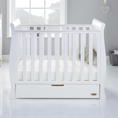 Obaby Stamford Space Saver Cot With SPRUNG Mattress (White) - lifestyle image