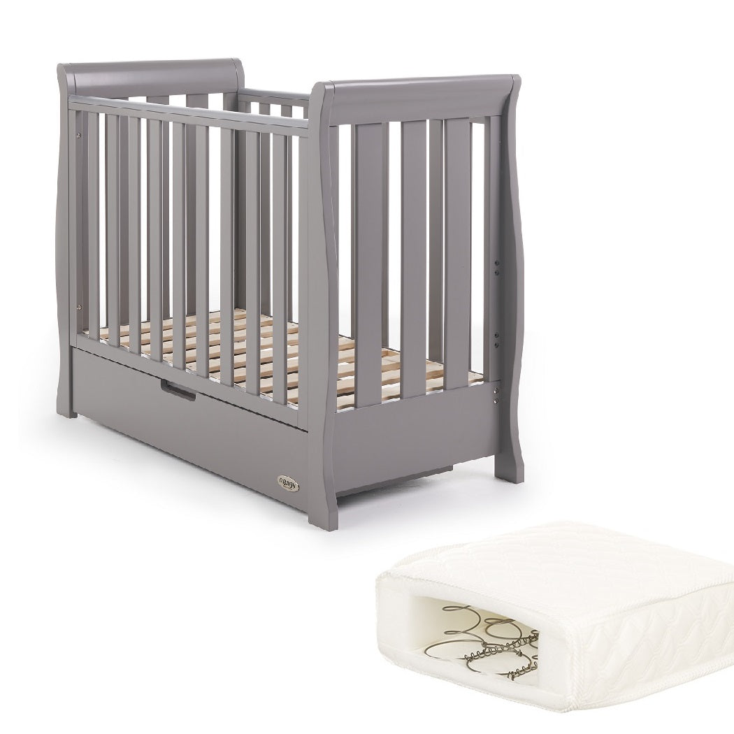 Obaby Stamford Space Saver Cot With SPRUNG Mattress (Taupe Grey)