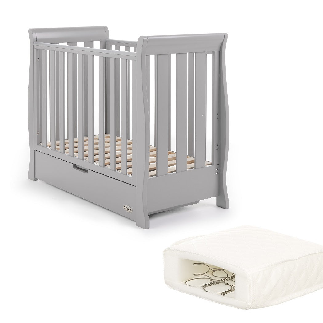 Obaby Stamford Space Saver Cot With Sprung Mattress (Warm Grey)