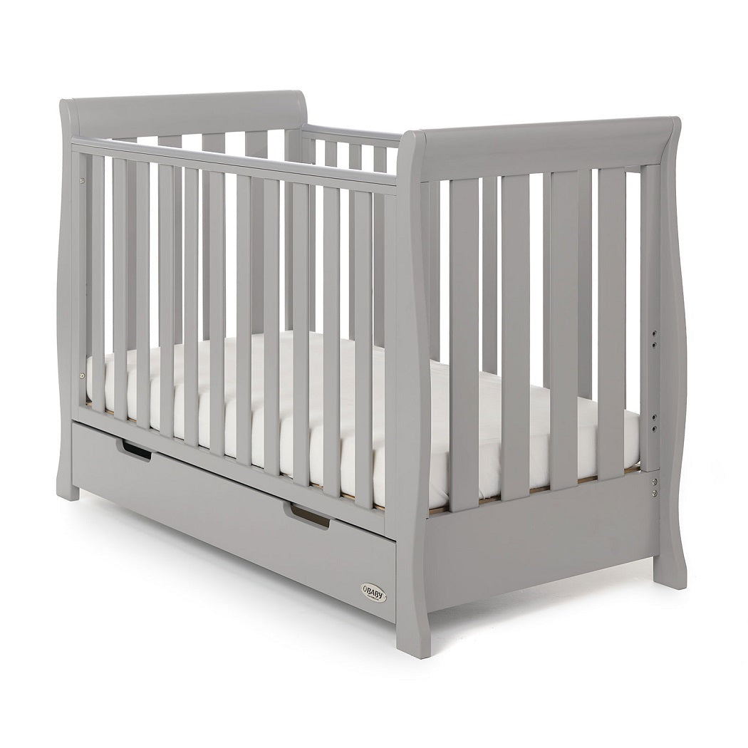 Obaby Stamford Mini Sleigh Cot Bed with Drawer (Warm Grey)