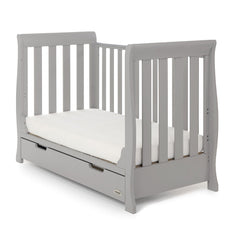 Obaby Stamford Mini Sleigh Cot Bed with Drawer (Warm Grey) - quarter view, shown here as the sofa bed