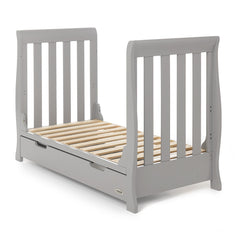 Obaby Stamford Mini Sleigh Cot Bed (Warm Grey) - quarter view, shown here as the junior bed
