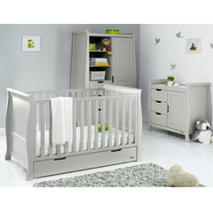Obaby Stamford Classic Sleigh 3 Piece Room Set (Warm Grey) - lifestyle image