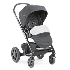 Joie Chrome DLX Pushchair (Pavement) - quarter view, shown forward-facing with footmuff