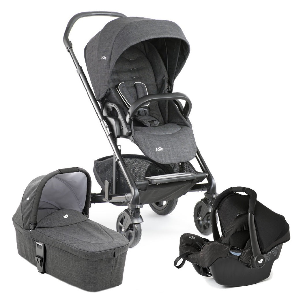 Joie Chrome DLX Pushchair & Carrycot (Pavement) with Gemm Infant Carrier