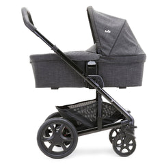 Joie Chrome DLX Carrycot (Pavement) - side view, showing the carrycot and chassis together as the pram