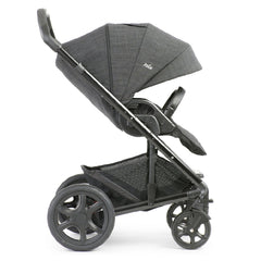 Joie Chrome DLX Pushchair (Pavement) - side view, shown forward-facing with hood fully extended