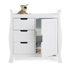 Obaby Stamford Sleigh Changing Unit (White) - front view, showing the internal shelves (toys and bedding not included)