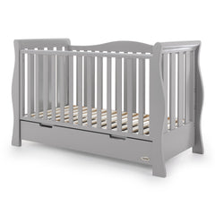 Obaby Stamford Luxe Cot Bed (Warm Grey) - quarter view, shown here as the cot