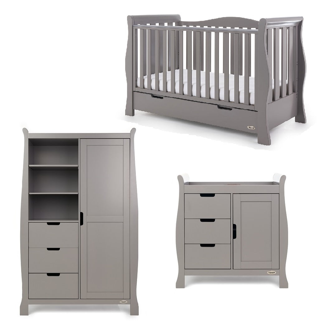 Obaby Stamford Luxe 3 Piece Room Set (Taupe Grey)